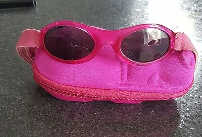 Baby Banz Infant sunglasses - Purple for ages 2 Months - 2 Years + Hippo case