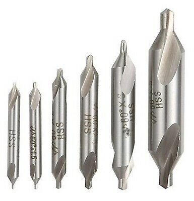 Xuchuan 6 PCS HSS Combined Center Drills Bit Set Countersinks 60 Degree Angle 5/