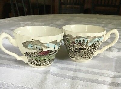 2~Myott Royal Mail Staffordshire England Teacups Coffee Cup Cups Color