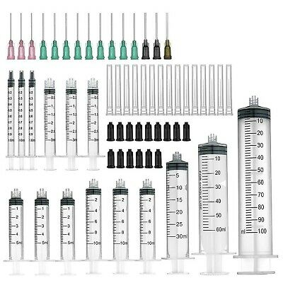 15 Pack (100ml/60ml/30ml Each 1pc, 10ml/5ml/3ml/1ml Each 3pcs) Syringes with Blu