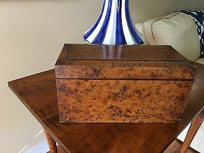 Antique 19Th Century 3 Compartment Tea Caddy Box Complete Probably English