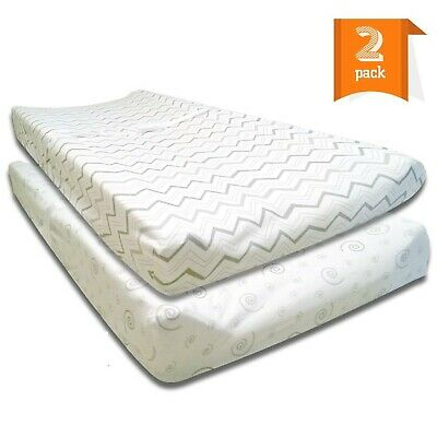 Changing Pad Cover, Cradle Sheet Set - 2 Pack Fitted Sheets - Jersey Cotton, Gre