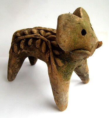 circa.1500 B.C Indus Valley Late Harappan Period Decorative Clay Elephant Statue