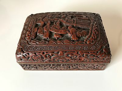 Old Chinese Carved Red Cinnabar Lacquer Box
