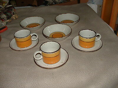 "15 MIDWINTER LTD STONEHENGE SUN CEREAL BOWLS 6 1/2"", Cups and Saucers   Bread 7"""