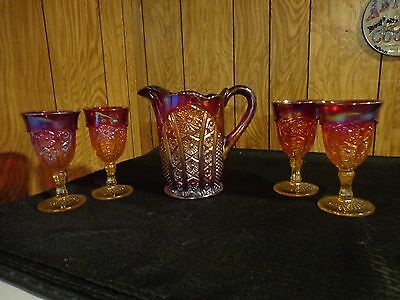 Indiana Glass Red Sunset Carnival Heirloom Series Daisy Pitcher & 4 Goblet Set