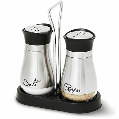 Salt and Pepper Shakers Set - High Grade Stainless Steel with Glass Bottom and 4