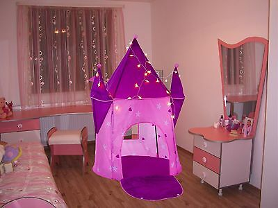 Girls Princess Castle Playouse Portable Folding Kids LED Pop Up Tent Toy Outdoor