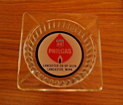 Vintage Phillips 66 Gas & Oil Philgas Advertising Ashtray ~ Lancaster Minnesota