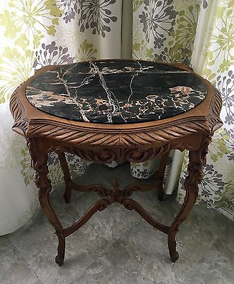 VINTAGE FRENCH CARVED WOOD TABLE with BLACK VEINED MARBLE TOP ANTIQUE