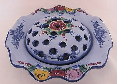 Flower Bowl With Frog Made in Portugal Bright Primary Colors Floral Arrangement