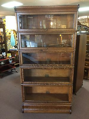 Antique Globe Wernicke 5 Stack Sectional Oak Barrister Bookcase Shipping Avail.