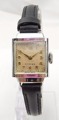 Vintage Ladies Swiss Made Staves Mechanical Art Deco Style Strap Watch
