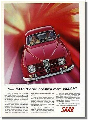 1966 Print-Ad - SAAB Automobiles  one-third more ZAP