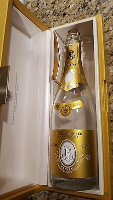 cristal champagne bottle with case
