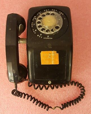 Vintage 1960s AUTOMATIC ELECTRIC NB902 BLACK Rotary Dial Wall Mount Telephone