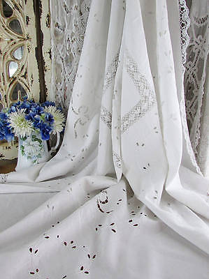 "SALE! Exquisite 67"" Square Antique Linen & Bobbin Lace Embroidered Tablecloth"