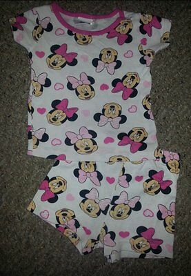 DISNEY Pink and White MINNIE MOUSE Shortie Pajamas Girls Size 3T