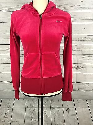 Nike Womens Red Cotton Blend Long Sleeve Zip Up Hooded Sweatshirt Size Small