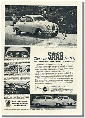 1961 Saab 5-Passenger Sports Sedan & Wagon Car-Ad