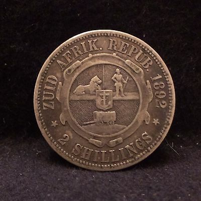 1892 South Africa (ZAR) silver 2 shilling, scarce first year, mint: 55,000, KM-6