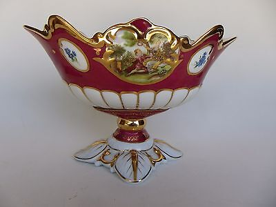 "Limoge Design Decorative Porcelain Large Victorian Style Footed Bowl 12"" Long"