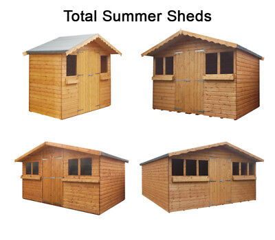 Total Summer Shed Garden Shed/summer House With 1Ft Overhang High Quality Timber