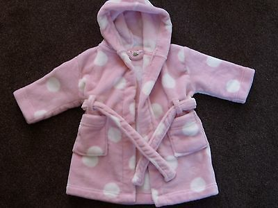 Baby girl's John Lewis pink/white spotted hooded dressing gown 6-9 mths