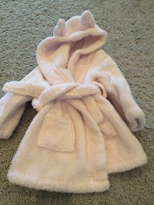 Little White Company Pink Fluffy Rabbit Ears Dressing Gown Aged 0-6