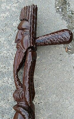 Old Antique Ornate Hand Carved Solid Wood Cane Bearded Faces Unique