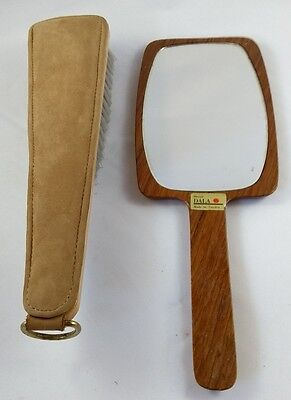 Vintage Dala Sweden Wooden Hand Mirror Danish Swedish + Clothes Brush