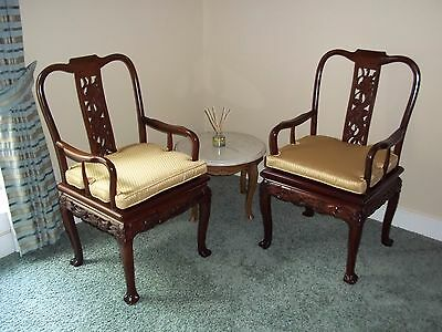 Vintage Oriental Mahogany Side Chairs Pair with cushions