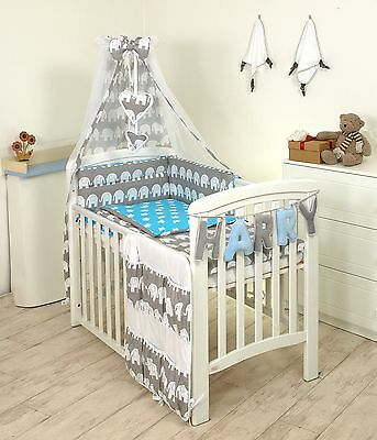 GREY ELEPHANT/BLUE BABY BEDDING SET COT or COT BED MULTIAUCTION 3,4,5,7,8,9 PC