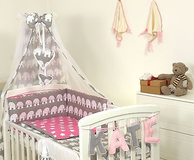 GREY ELEPHANT/PINK BABY BEDDING SET COT or COT BED MULTIAUCTION 3,4,5,7,8,9 PC