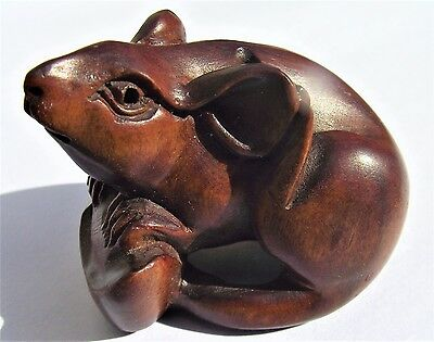 Vintage Japanese Wooden Netsuke - Mouse - Signed
