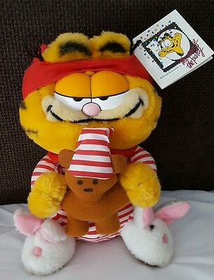 Vintage Garfield & Pooky with Bunny Slippers