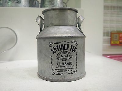 Antique Tin Vintage Style Flower Plant Milk Tank Churn Container Planter No.2