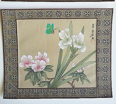 Chinese Silk 2 Paintings Butterfly Flowers Nature Home Decor  Ships Free Today