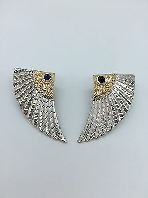 Beautiful Vintage ERTÉ Sterling Silver 14k Yellow Gold And Sapphire Earrings
