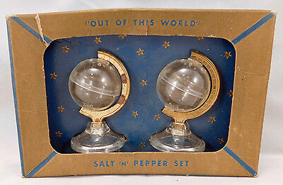 """Plastic Globe """"Out of This World"""" Salt and Pepper Set in Box"""