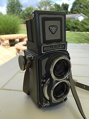 ROLLIEFLEX GREY BABY 4x4 TLR CAMERA XENAR 60mm f3.5 WITH CASE, NICE SHAPE
