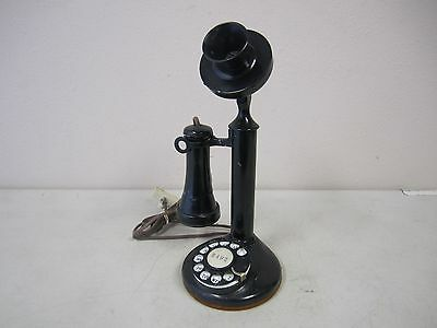 Vintage American Bell Telephone Co. Candlestick Phone - Black (Damaged Receiver)