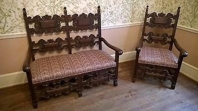 Antique Hand Carved Settee and Chair