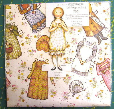 Vintage 1970's Holly Hobbie Gift Wrap & Paper Doll Gift Tag, 1 Sheet