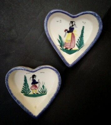 Beautiful Vintage Henriot Quimper Faience Pottery Heart Shaped Bowls Pair Signed