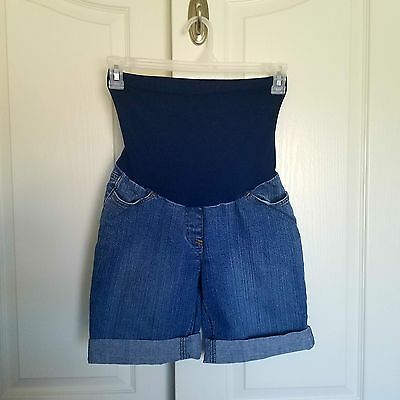 Motherhood Maternity Cuffed Denim Shorts Full Panel Medium Wash Size S