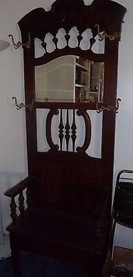 Antique Solid Wood Hall Tree Beveled Mirror Nice Carvings Early 1900's P/U 90710