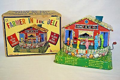 Vintage Farmer In The Dell Tin Wind Up Musical Toy That Acts Mattel 1953 In Box