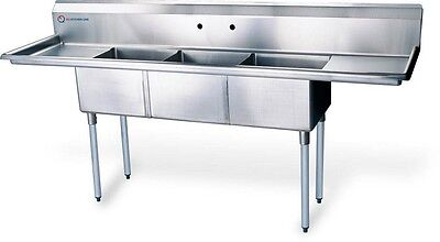 """EQ 3 Compartment Commercial Kitchen Sink Stainless Steel 62""""x19.5""""x43.75"""""""