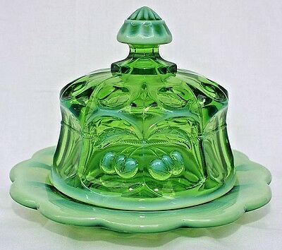 Mosser Green Opalescent Cherry Cable Thumbprint Covered Butter Dish